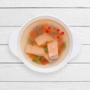 Суп с красной рыбой и рисовым ассорти